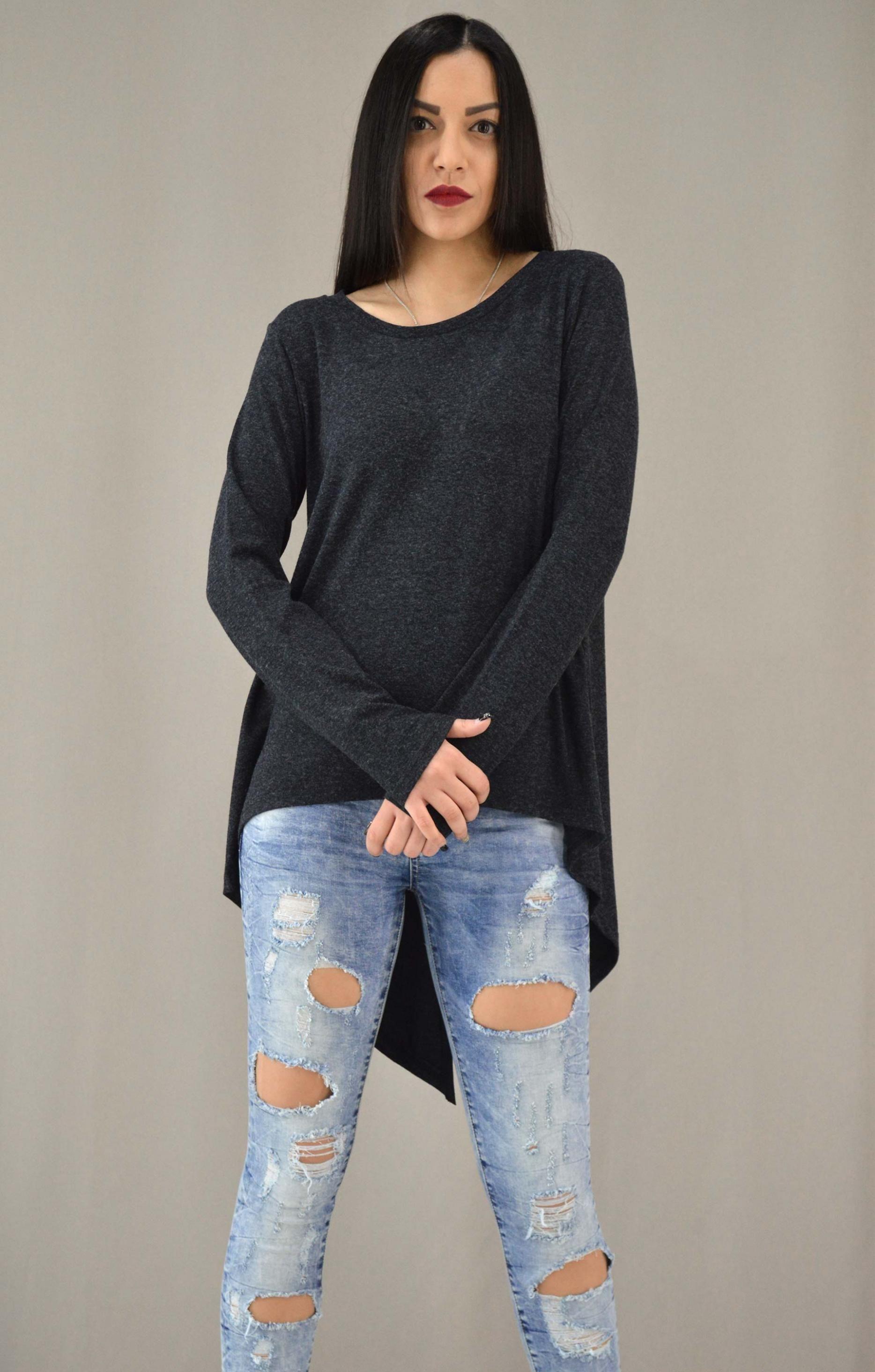 Γυναικεία μπλούζα ασύμμετρη με άνοιγμα  95f28d9b4c1