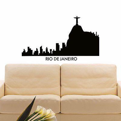 WALL DECAL VINYL STICKER RIO DE JANEIRO SKYLINE CITY SILHOUETTE DECOR SB120