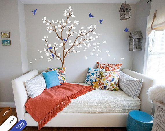 Kindergarten Wald Baum Wand Aufkleber Mit Vögeln, Grün Und Rosa Blätter Kinderzimmer  Dekoration Für Babyzimmer