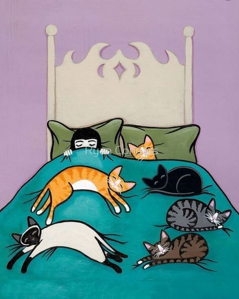 Bed Time With Cats Whimsical Cat Folk Art Giclee Print 8x10, 11x14 by KilkennyCat Art, $17.92 USD