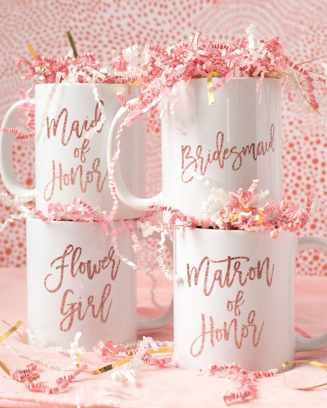Pink Glitter Bridal Party Coffee Mugs | digibuddha.com | Wedding ...
