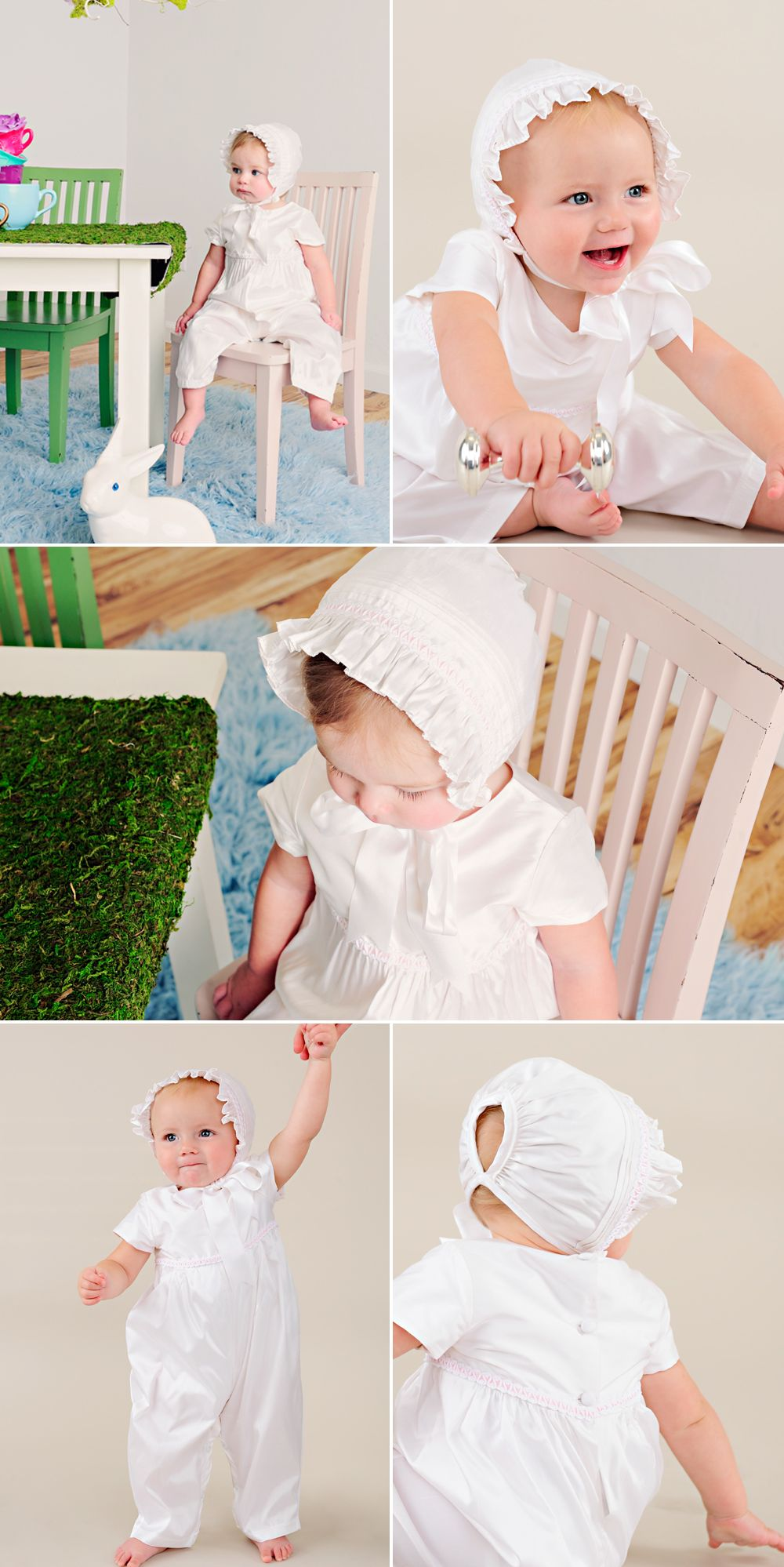 Perfect for Easter with a darling pink braid, our Phoebe is adorable with matching bonnet.
