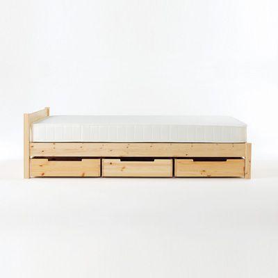 パイン材ベッド下収納ボックス・仕切付き
