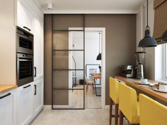 Schiebetür zwischen Küche und Wohnzimmer -glas-modern-kleinwohnung - sockelleisten für küchen