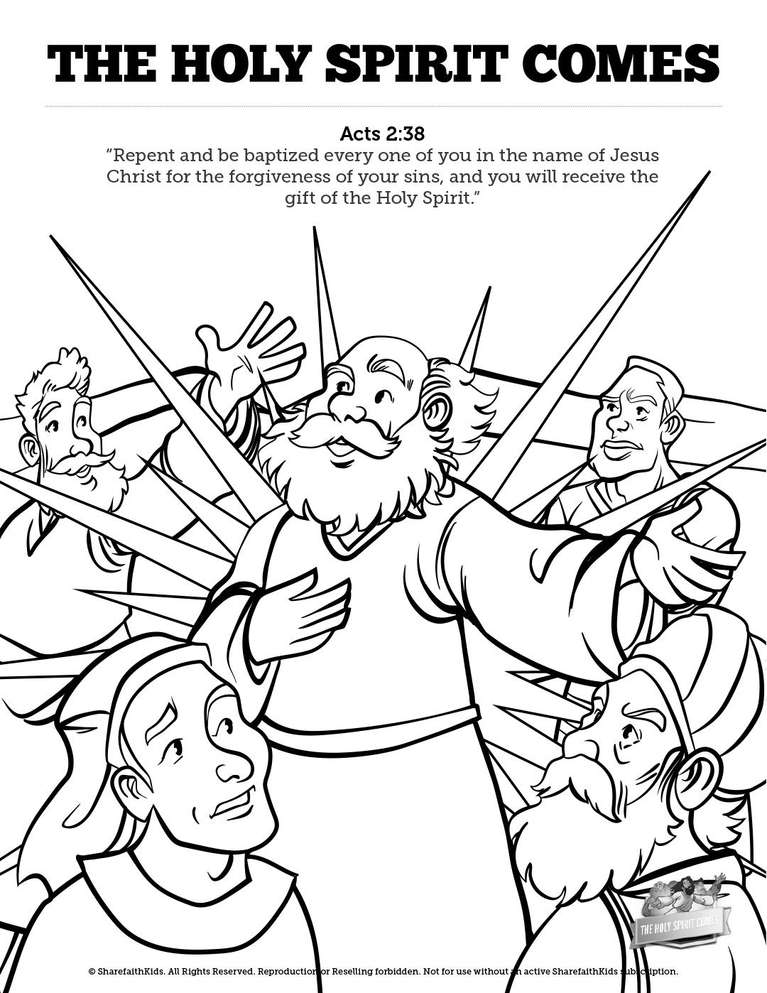 Acts 2 The Holy Spirit Comes Sunday School Coloring Pages