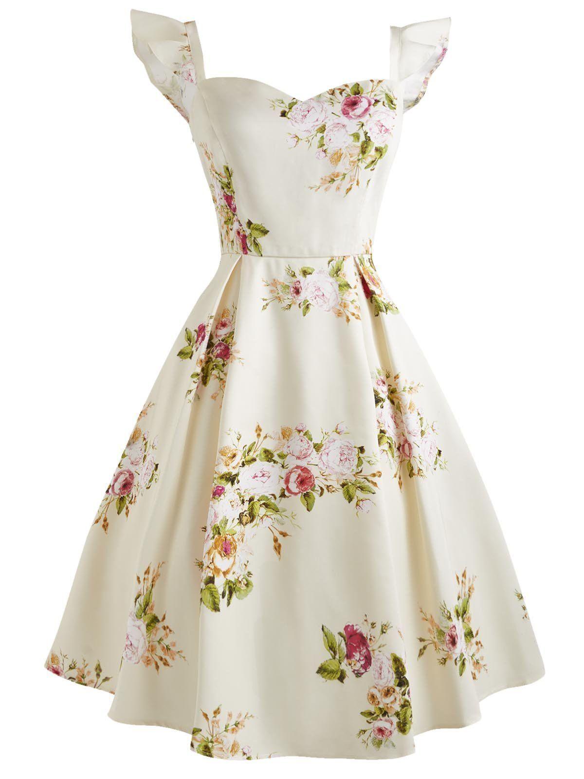 Creme 14er-Schatz-Rüsche Sleeveless Kleid  Vintage dresses 14s
