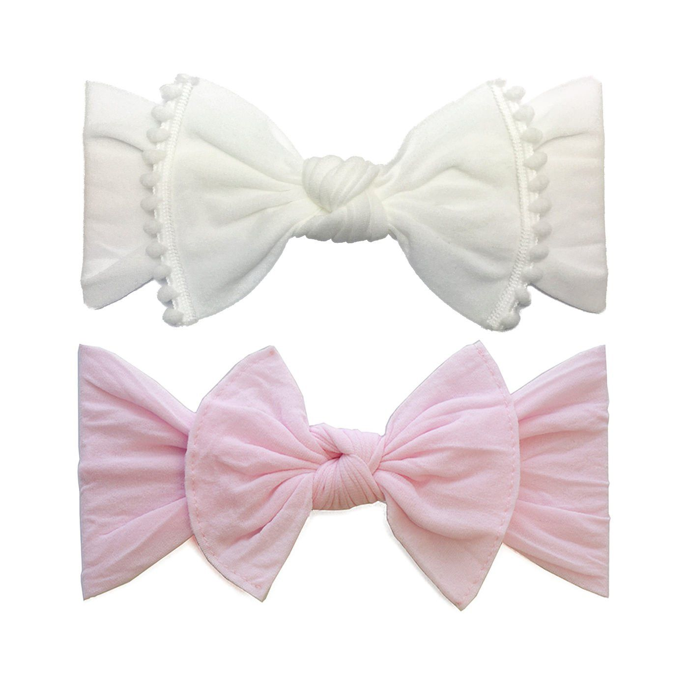 d3e030f7f6f2d Baby Bling 2 Pack  Trimmed Pompom and Classic Knot Girls Baby Headbands  White Pink   Find out more about the great product at the image link.