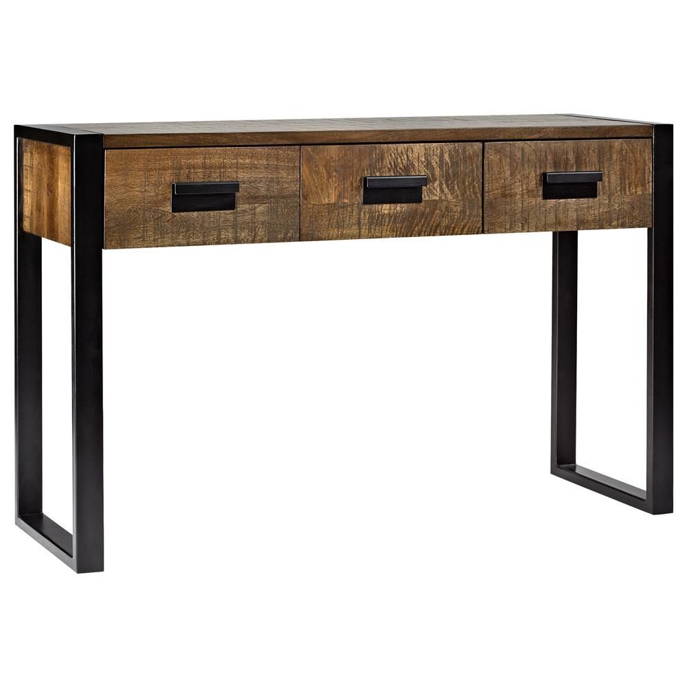 atelier industrial chic wood console table with metal. Black Bedroom Furniture Sets. Home Design Ideas