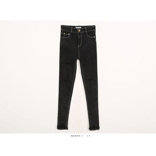 Slit-Detail Skinny Jeans ($39) ❤ liked on Polyvore featuring jeans, slit jeans, skinny jeans, skinny fit jeans, denim skinny jeans and white jeans