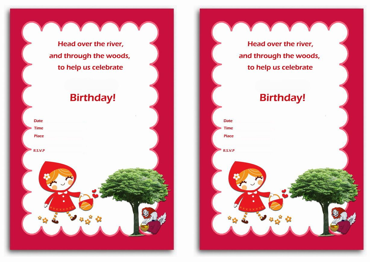 Little Red Riding Hood FREE Printable Birthday Party Invitations ...