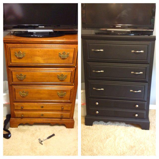 Cheap DIY Dresser redo 18 dollars for flat black spray paint and 21 dollars in handlesI
