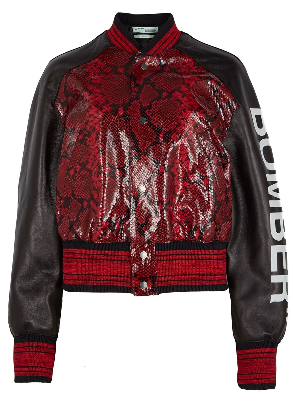 OffWhite red and black leather bomber jacket, Phyton