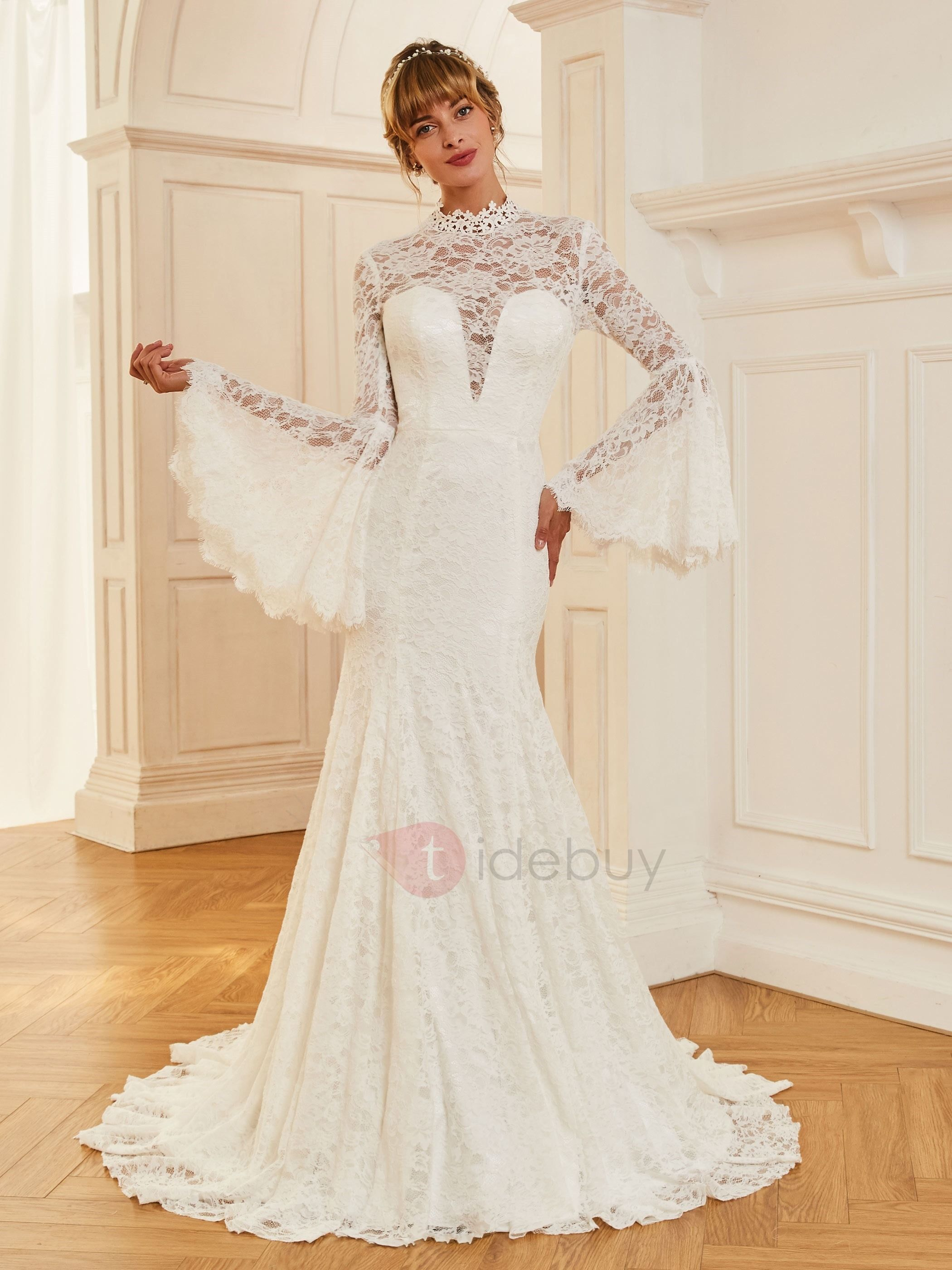 Vintage high neck long sleeves lace wedding dress lace wedding