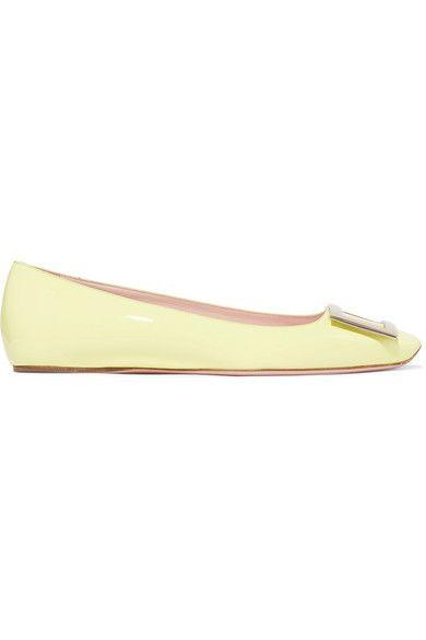 bd349b7c8ed74 Roger Vivier - Trompette Patent-leather Ballet Flats - Pastel yellow ...