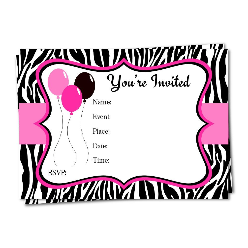 Zebra print invitation fill in invitation birthday invitation zebra print invitation fill in invitation birthday invitation printable invitation girl invitation filmwisefo