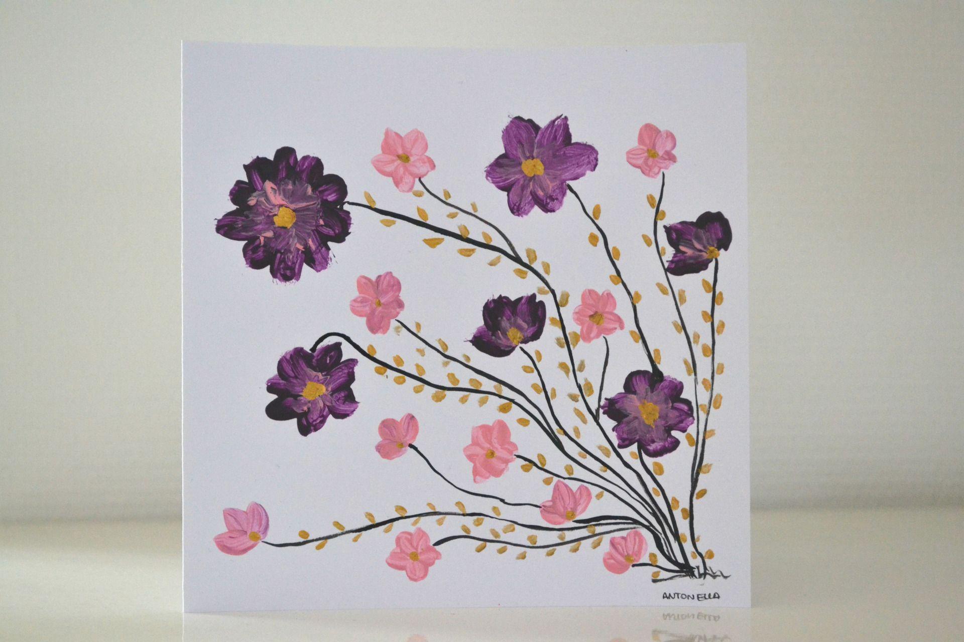 carte romantique fleurs peinte carte anniversaire femme style boh me carte cartes de voeux. Black Bedroom Furniture Sets. Home Design Ideas