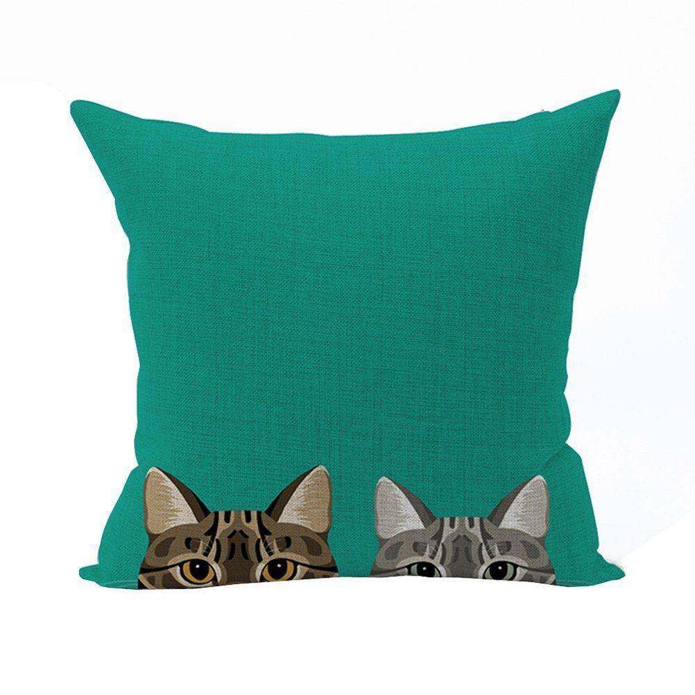 Nunubee Animal Cat Cotton Linen Square Throw Pillow Case