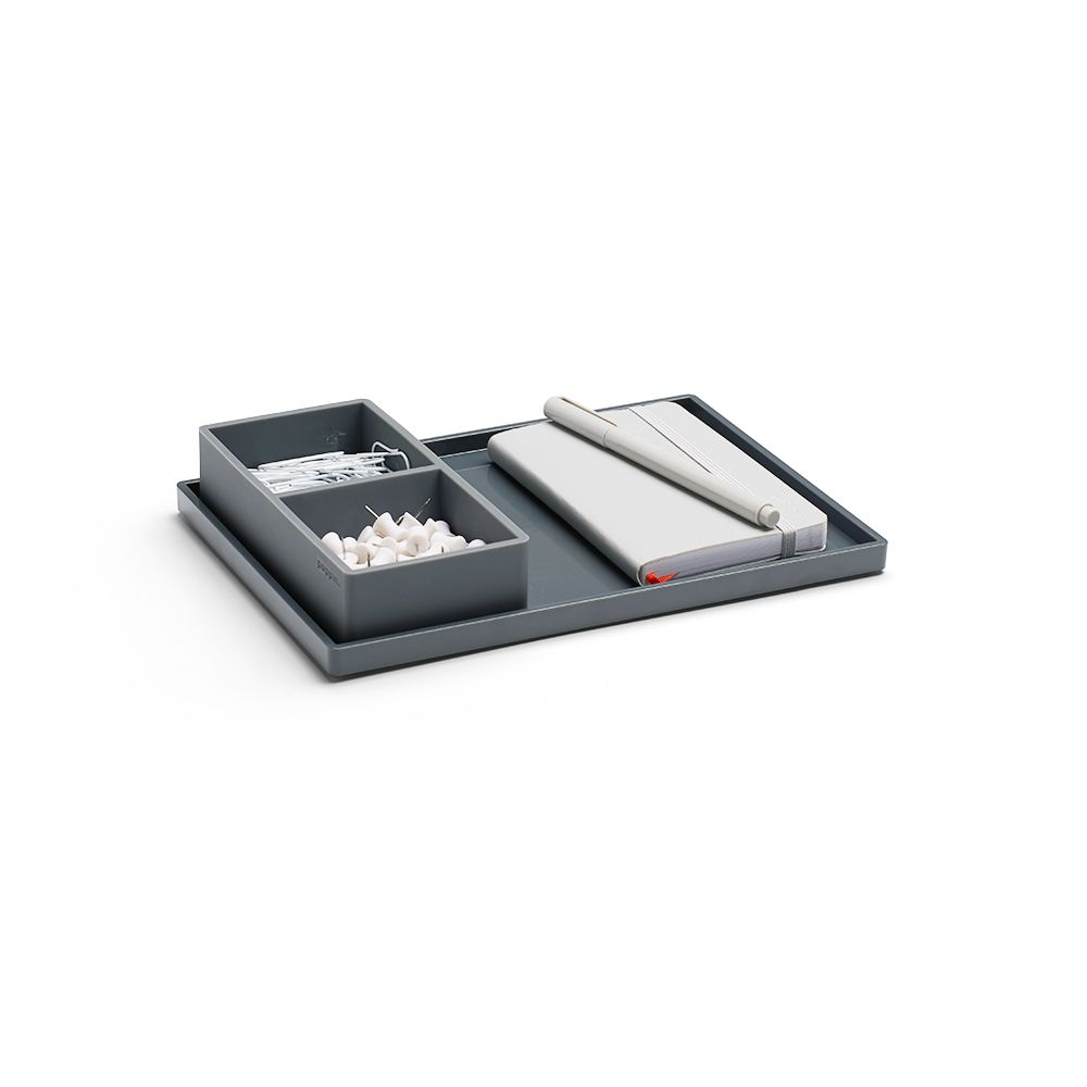 poppin dark gray medium slim tray desk accessories. Black Bedroom Furniture Sets. Home Design Ideas