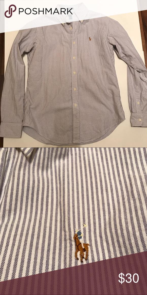 Classic Fit Ralph Lauren Oxford Shirt Blue Striped Classic Fit Ralph Lauren Oxford Shirt. Ralph Lauren Tops Button Down Shirts