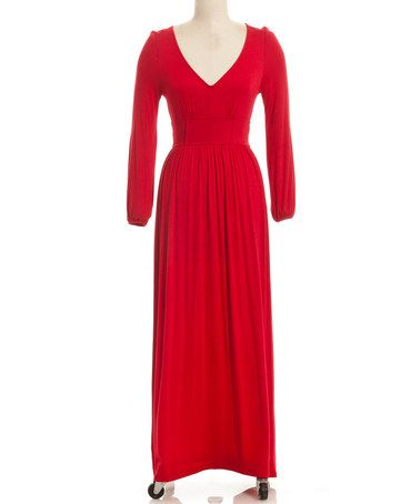 Considering this for the Red Queen costume. Another great find on #zulily! Red V-Neck Maxi Dress by Coveted Clothing #zulilyfinds