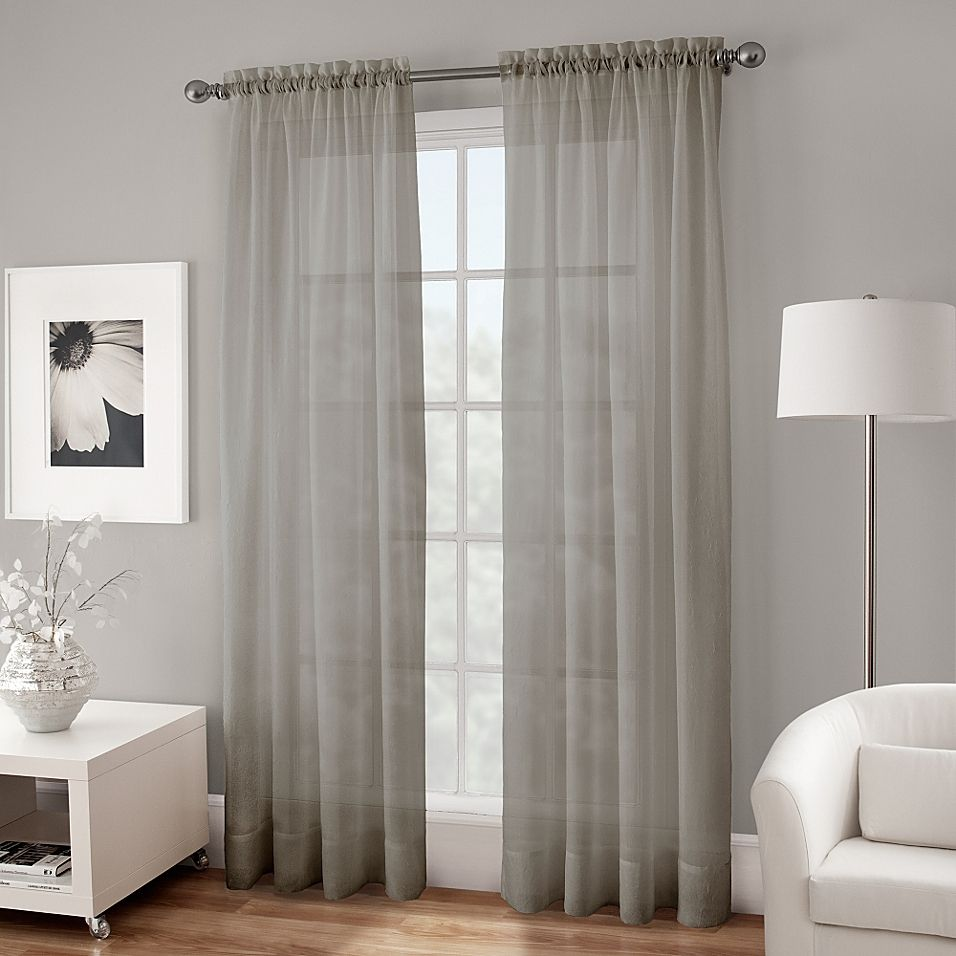 Crushed Voile Sheer 108 Rod Pocket Window Curtain Panel In Grey