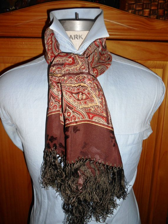 1940's vintage men's scarf.  Paisley pattern in rust, browns, and beige. Fringed. Rayon