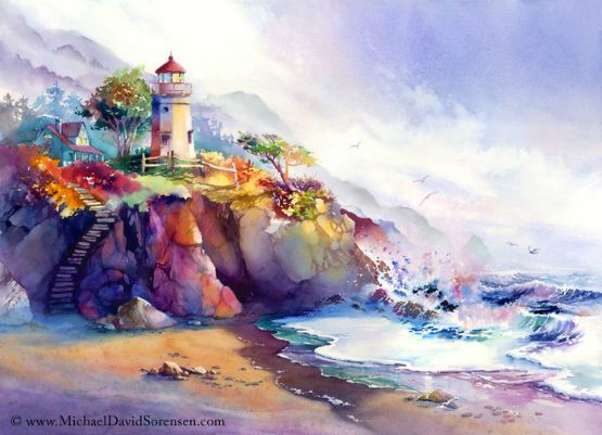 Amazing Watercolor Painting By Michael David Sorensen Lighthouse