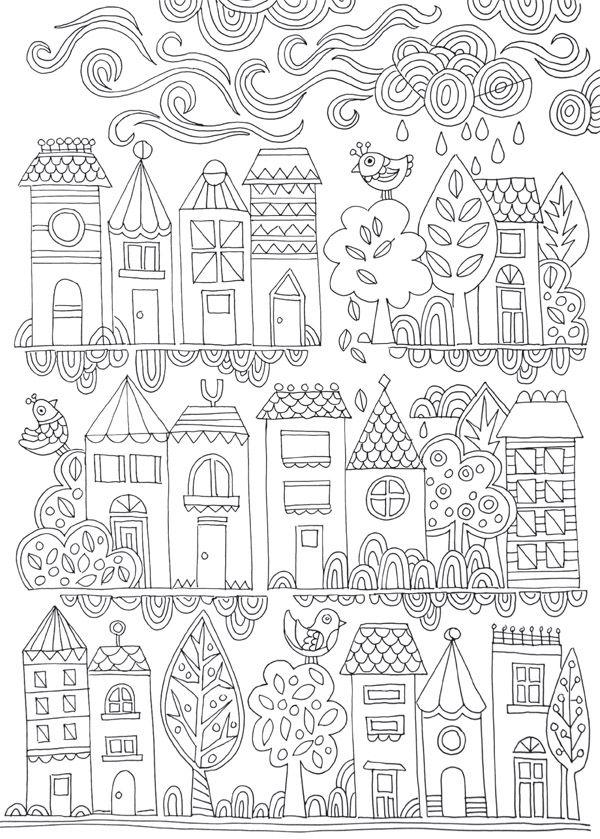 FREE COLOURING POSTER: Tiny Town | Colorear, Mandalas y Dibujo