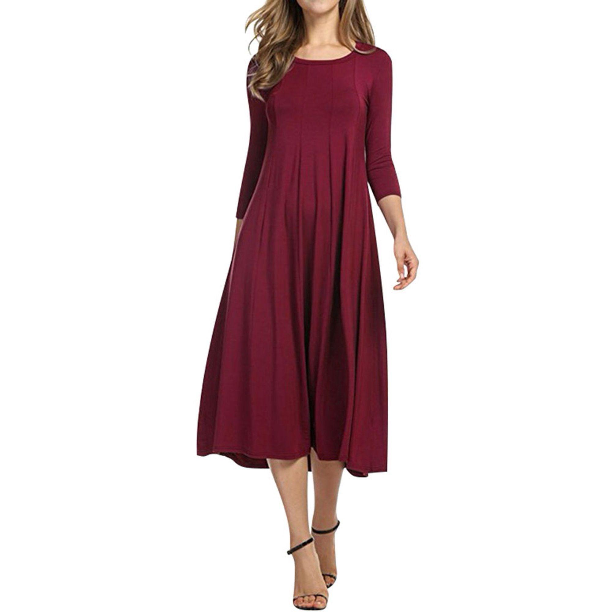Nlife Nlife Women 3 4 Sleeve Round Neck Swing Midi Dress Walmart Com Vintage Dresses Casual Half Sleeve Dresses Necklines For Dresses [ 2000 x 2000 Pixel ]