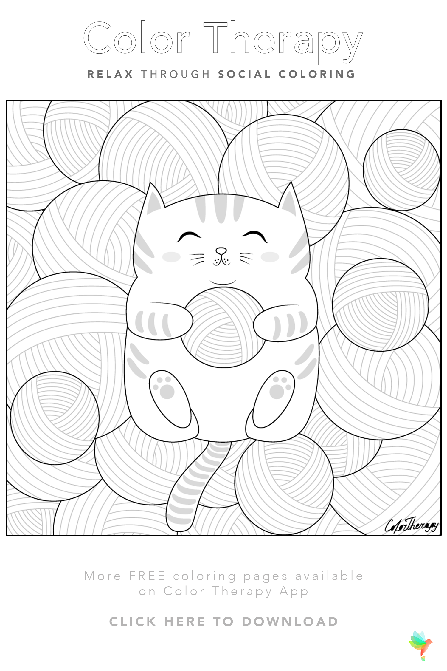 Color Therapy Gift Of The Day Free Coloring Template Coloring Book Art Cool Coloring Pages Color Therapy