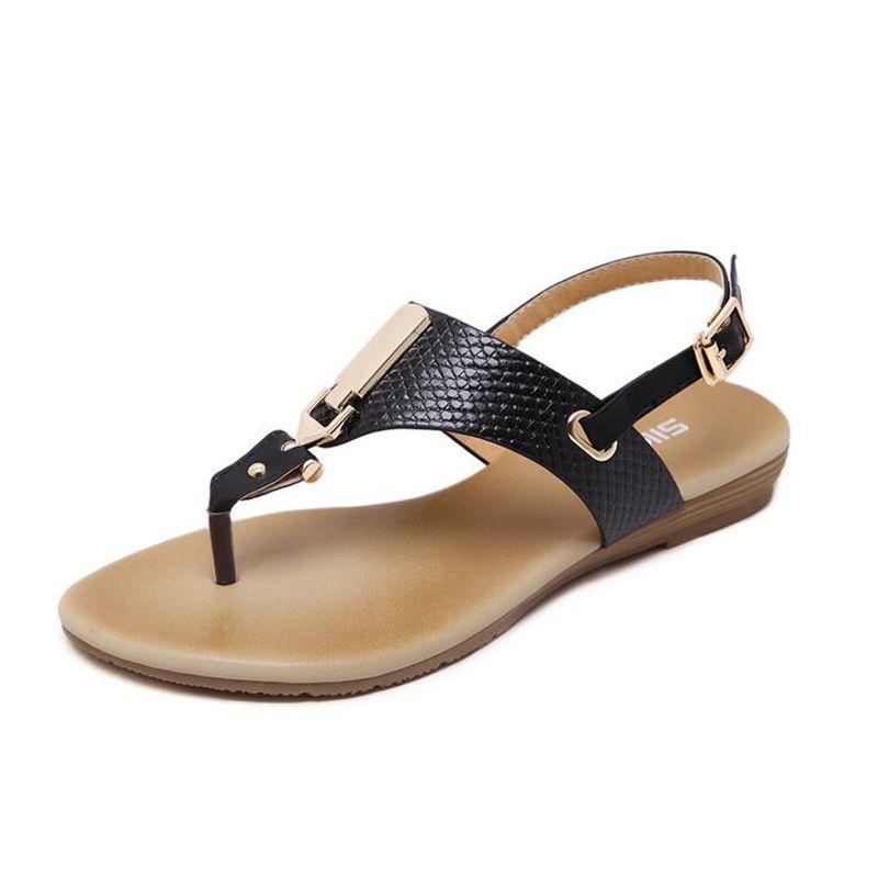 New Women Summer Style Flat Shoes Women Flat Heel Comfortable Soft Bottom Sandals Women Sweet Flip Flops Size 35-41 k29