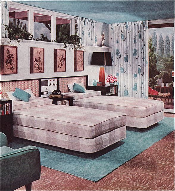 Bedroom Design Source  New Beauty for Basements and Basementless Houses  with Armstrong Floors by Armstrong Cork Co  Image from the Mid Century Home  Style. 1950s Bedroom Design   1950s bedroom  1950s and Basements