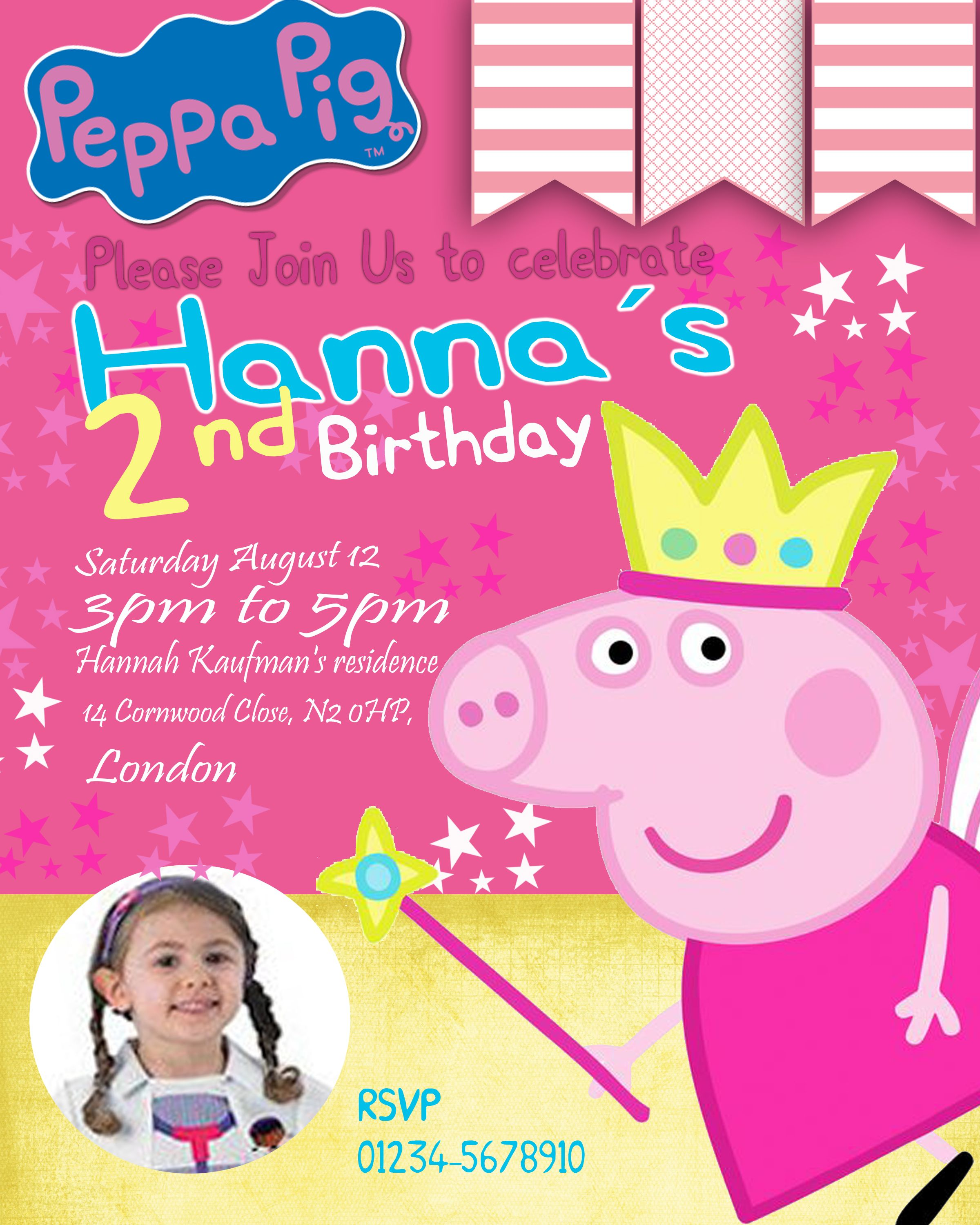 Peppa Pig Birthday Invitation With Photo Add On Oscarsitosroom Pig Birthday Invitations Peppa Pig Birthday Invitations Peppa Pig Invitations