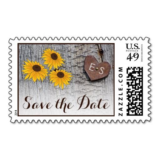 Sunflowers, heart on wood wedding Save the Date Postage Stamps