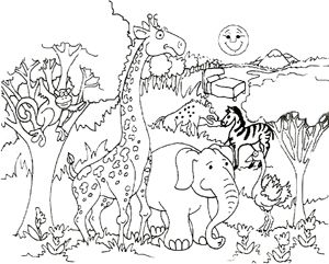 Color Page Wild Animals Zoo Coloring Pages Giraffe Coloring