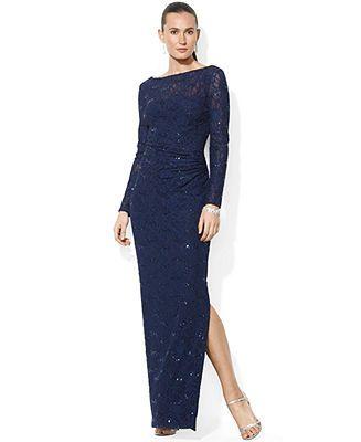 Lauren Ralph Lauren Long-Sleeve Sequined Lace Gown - Dresses - Women -  Macy's