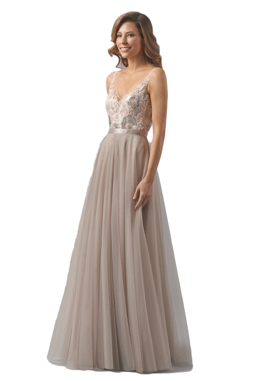 Watters and watters 8355i wedding vow renewals floor length watters blair a sequined lace and bobbinet a line floor length dress on illusion netting with front and back v neckline and double faced satin ribbon at ombrellifo Image collections