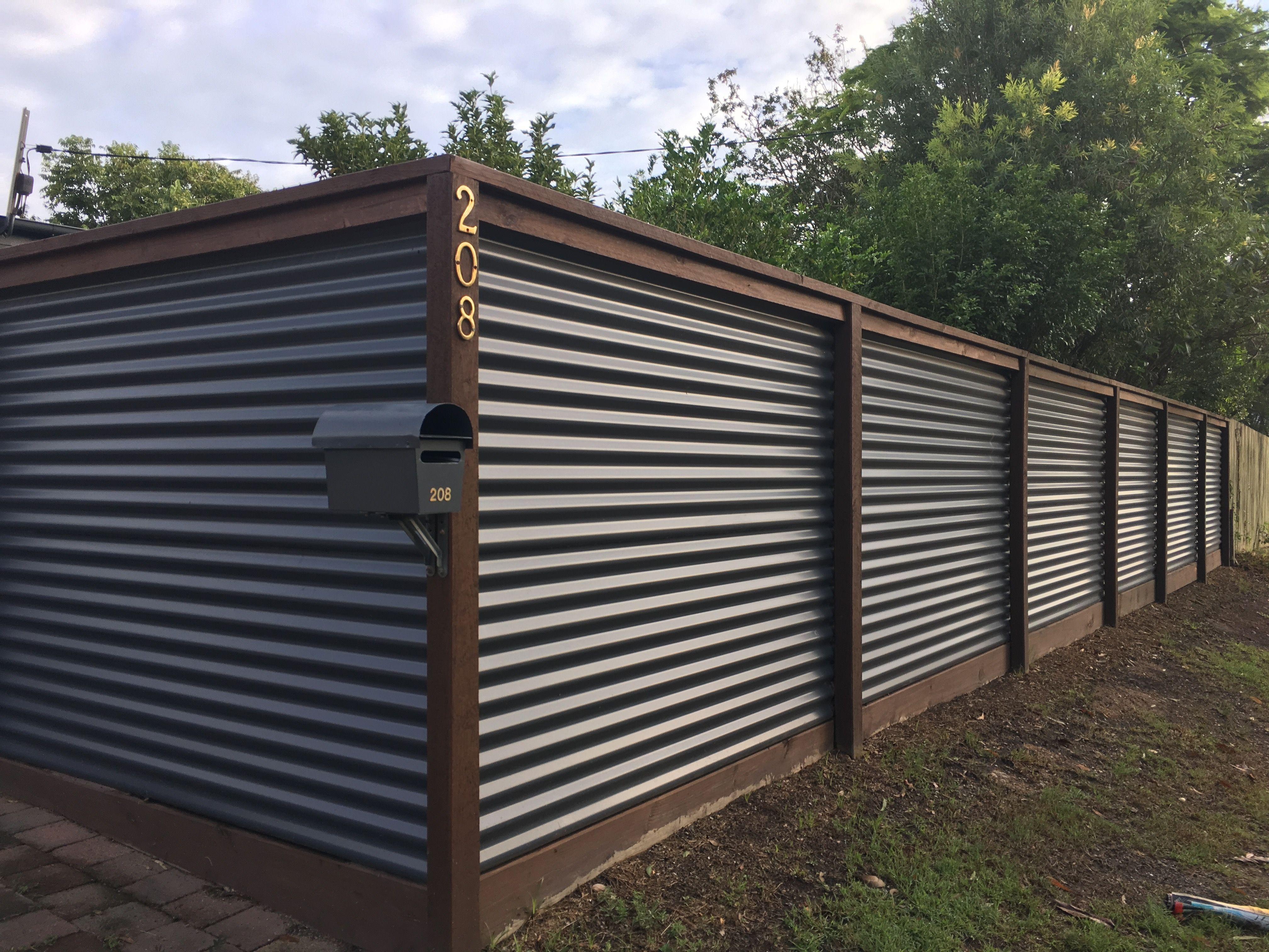 Corrugated Iron And Hardwood Fence Metal Fence Panels Diy Privacy Fence Corrugated Metal Fence