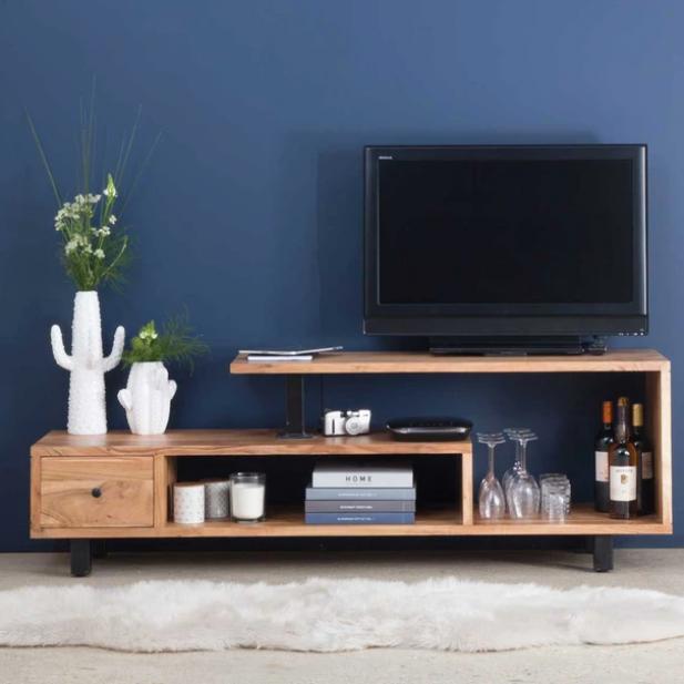 Meuble Tv Asym Trique Bois Et M Tal Un Tiroir Ne Bois Made In Meubles La Redoute Table Tabledesign Engagementtable Tab In 2020 Furniture Tv Room Design Home