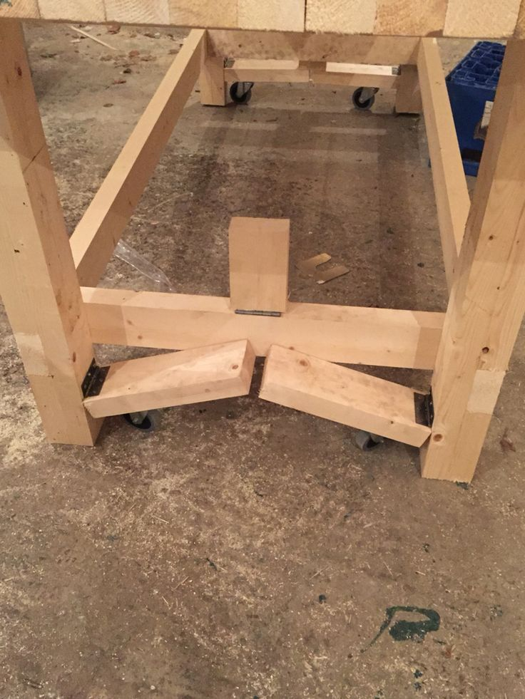 Retractable Bench Casters Diy workbench, Woodworking