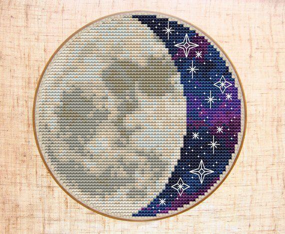 Moon Cross Stitch Pattern Modern Cross Stitch Starry Night sky Cross Stitch Space Galaxy Embroidery Celestial Cross Stitch PDF Hoop art DIY