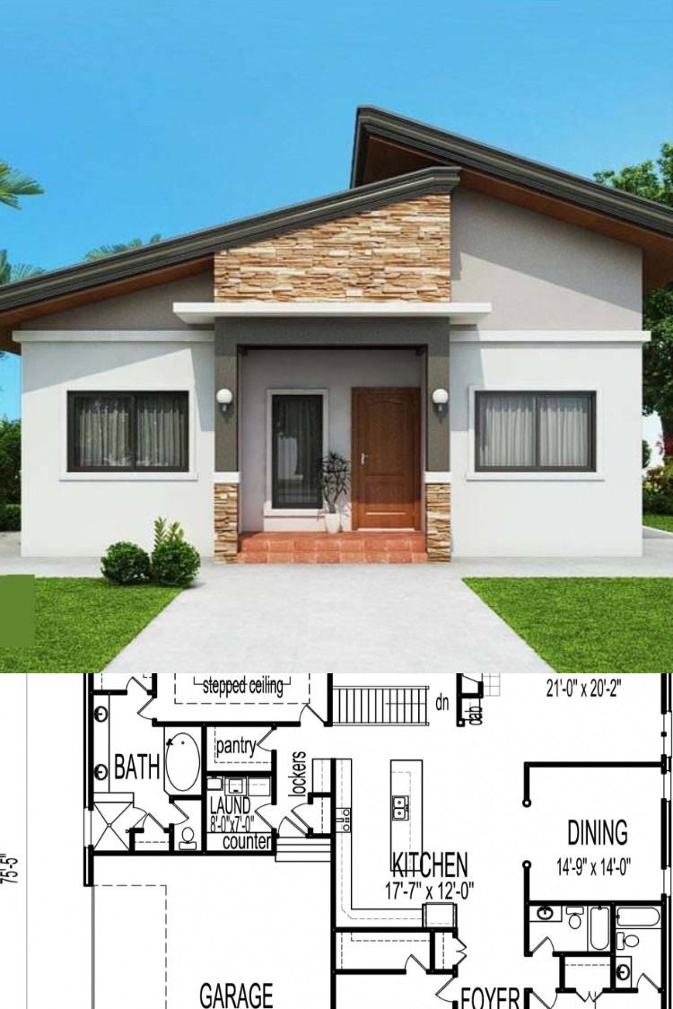 2 Bedroom Bungalow House Designs In 2020 Ranch Style House Plans Modern Bungalow House House Construction Plan
