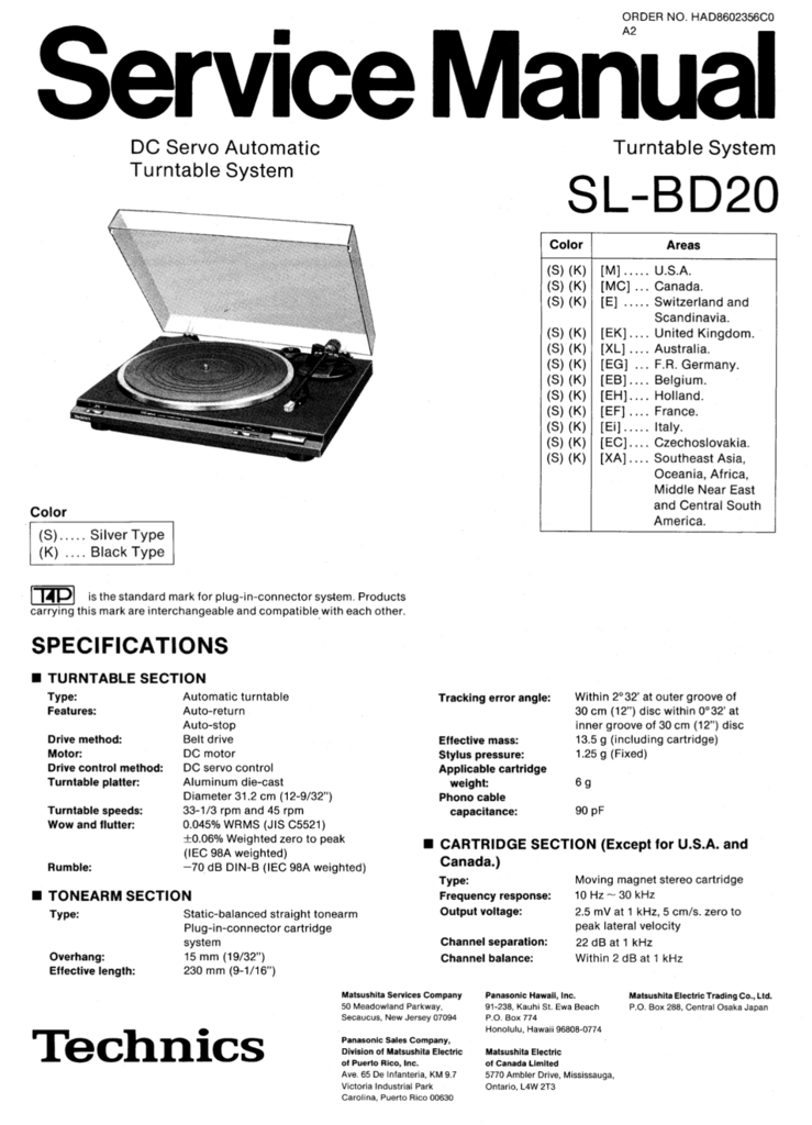Technics SL-BD20 Service Manual Complete | Technics Service Manuals