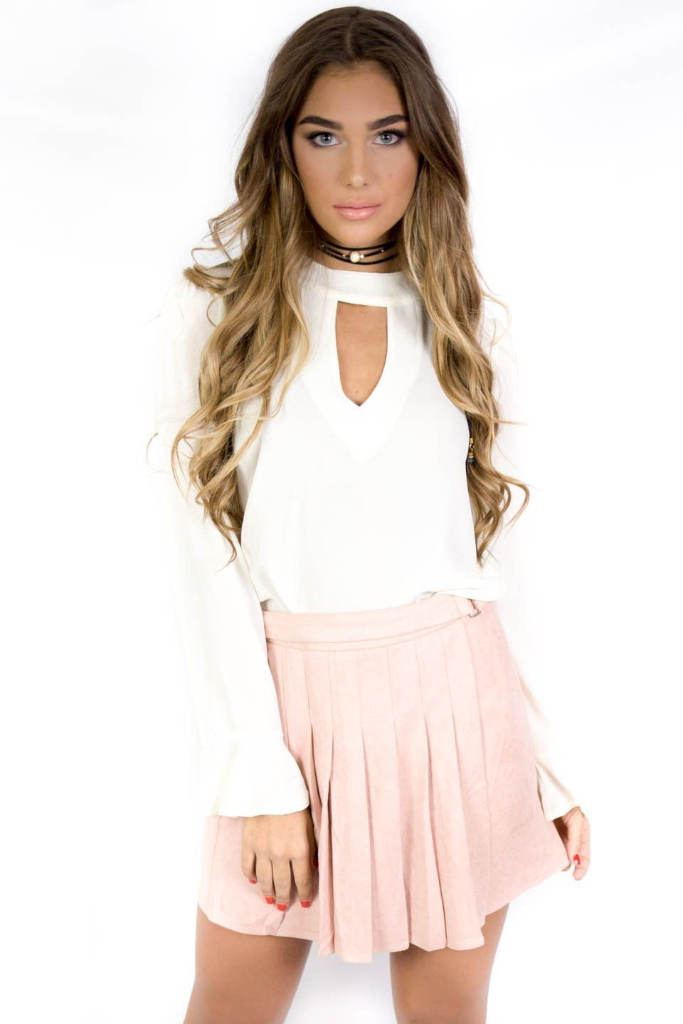 London Eye Blush Faux Suede Skirt | Eyes, Products and Skirts