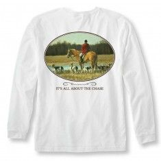 """Charlee Tee: The Hunt $32.00  When the leaves begin to change and you reach for that """"go-to"""" long sleeve tee, the prep reaches for the shirt that will provide warmth and make a statement.  Features: Tagless 100% cotton Left chest pocket Tapered cuffs to maintain fit around wrist"""