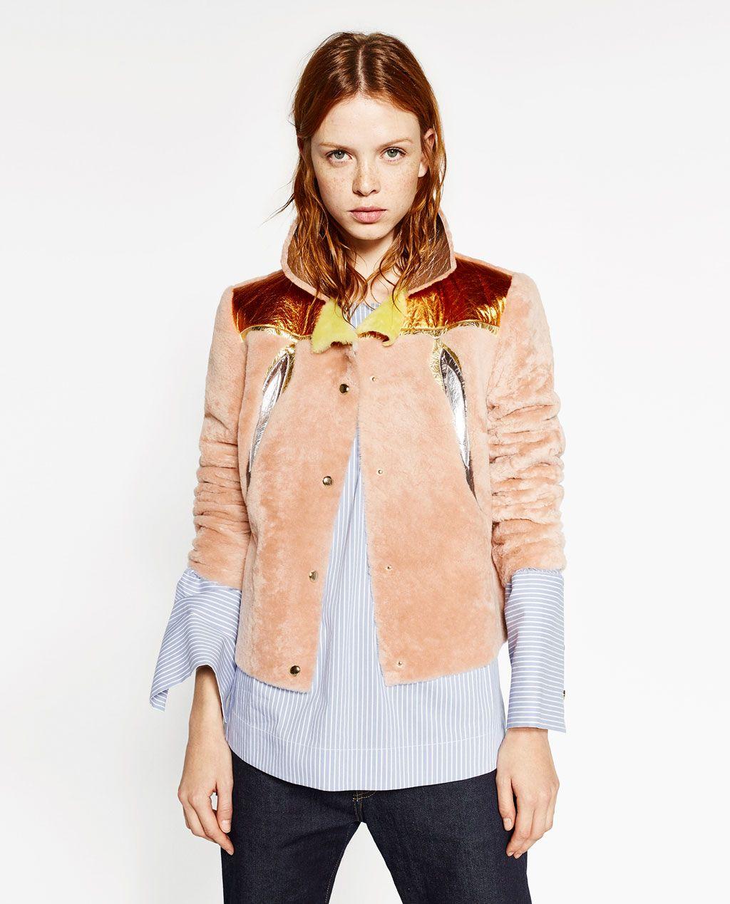 Leather jacket yellow zara - Zara Woman Multicoloured Faux Fur Jacket