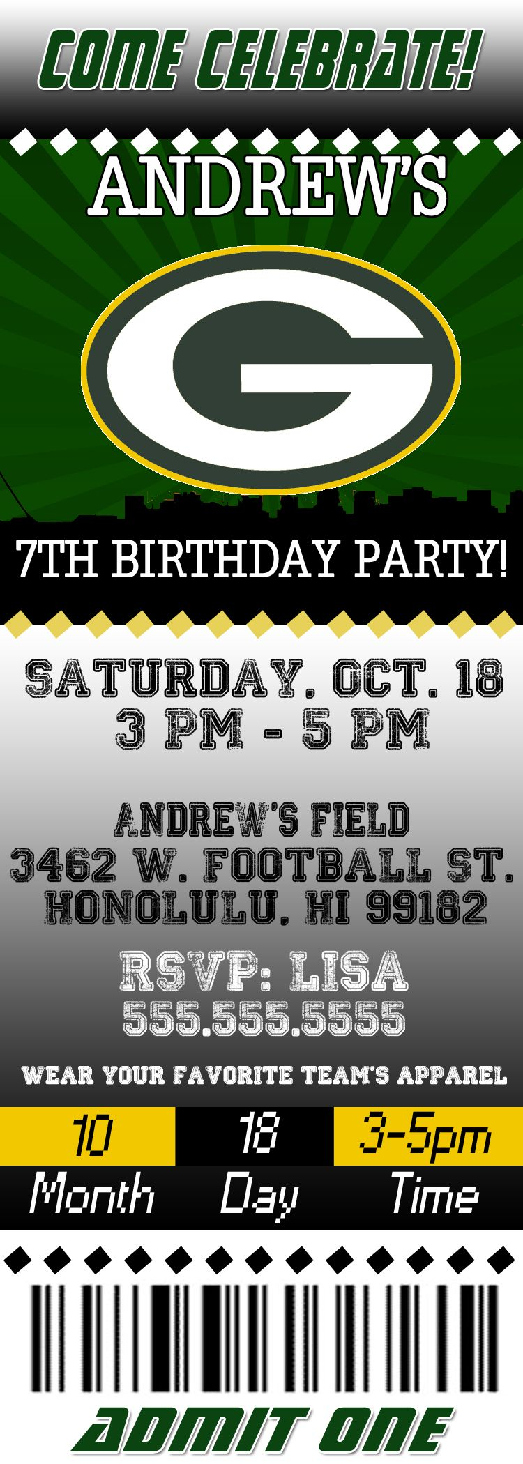 Nfl Green Bay Packer S Birthday Invitation Green Bay Packers Birthday Green Bay Packers Party Packers Party