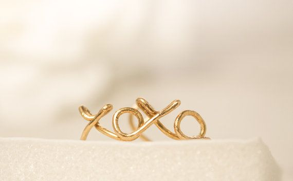 Xoxo Ring Hugs And Kisses Ring Gold Knuckle Ring By