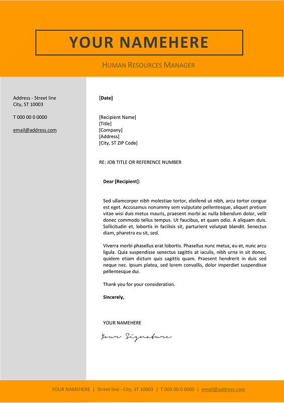 Jordaan Cover Letter Template  Orange Layout  Classic Resume