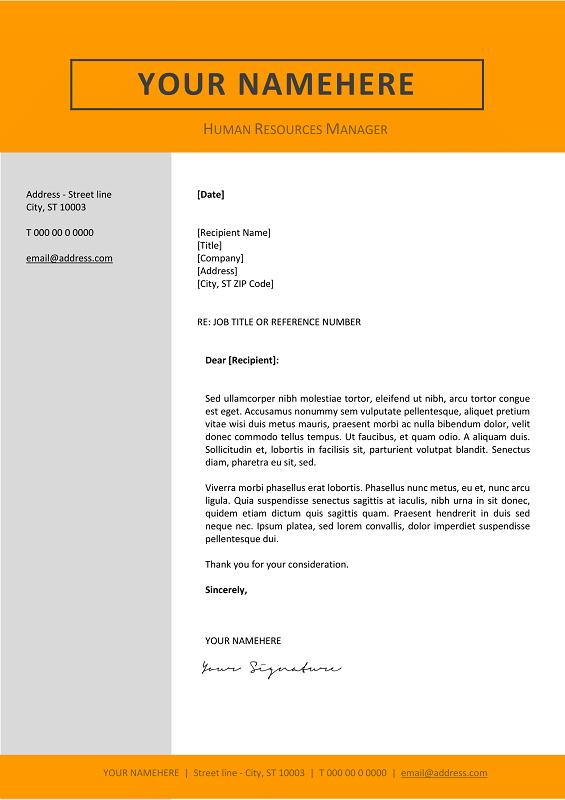 Jordaan Cover Letter Template   Orange Layout